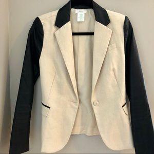 Esley Colorblock Blazer Faux Leather Sleeves (NWOT